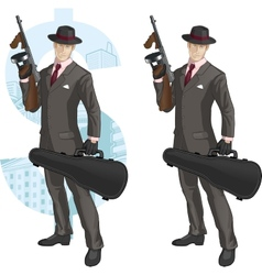 Cartoon caucasian mafioso with tommy-gun vector