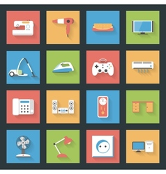Home furniture and appliances flat icons set with vector