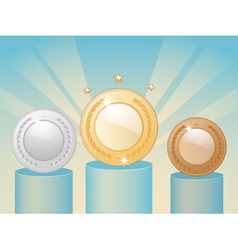 winners medals and podium vector image