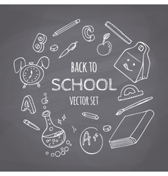 Back to school doodle supplies set chalk style vector