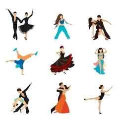 Dancing styles flat icons set vector