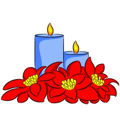 Candle and poinsettia vector