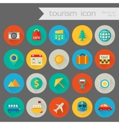 Trendy detailed tourism icon set vector