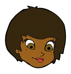 Comic cartoon female face vector