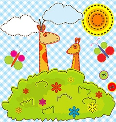 Cartoon background for kids with giraffe and vector image