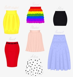 Types of skirts vector