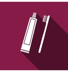 Toothbrush and toothpaste icon with long shadow vector
