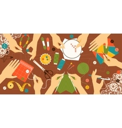 Different types of needlework vector