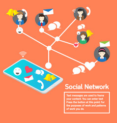 Business team concept smartphone social network vector