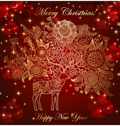christmas with deer vector image vector image