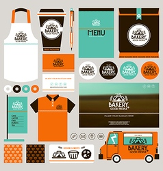 Concept for bakery identity mock up template vector