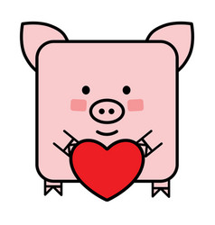 cute flat pig emoticon with a heart vector image