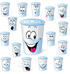 Dairy product in plastic cup - funny cartoon with vector