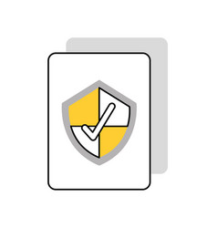 Document with security shield isolated icon vector