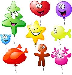 Funny xmas colorful balloons vector