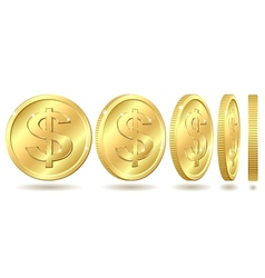 golden coin with dollar sign vector image vector image