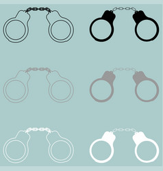 Handcuff black grey white icon vector