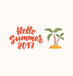 Hello summer text with beach design elements vector