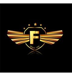 Letter F winged crests logo Alphabet logotype vector image