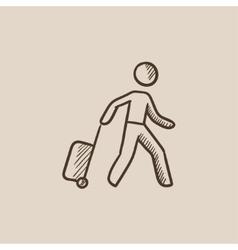 Man with suitcase sketch icon vector image vector image