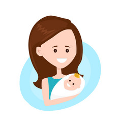 Mother modern flat style character holds vector
