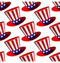 Patriotic American top hat seamless pattern vector image