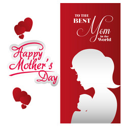 Poster mothers day best mom silhouette woman vector