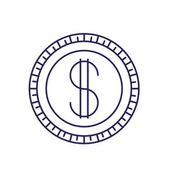 Purple line contour of coin icon vector