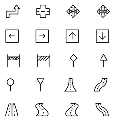 Road outline icons 5 vector