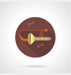 trombone tunes flat brown round icon vector image vector image