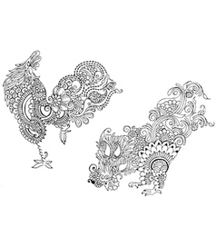 Two cocks in the style of mehendi vector