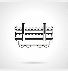wood rail freights flat line icon vector image vector image