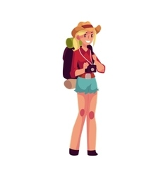 Young pretty girl travelling hitchhiking with vector