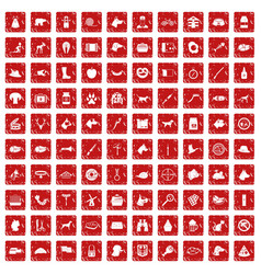100 dog icons set grunge red vector