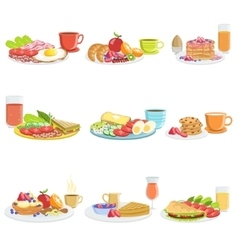 Breakfast meal different sets vector
