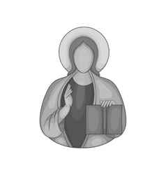 Jesus christ icon black monochrome style vector