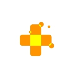 Isolated abstract orange color cross logo Medical vector image