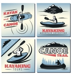Canoe Emblem Designs Set vector image