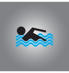 Swimmer icon isolated on gray vector