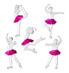Ballerinas little girls dancing children vector