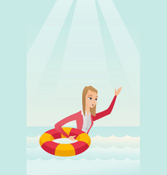 Business woman sinking and asking for help vector