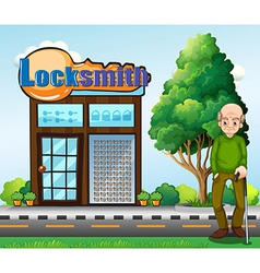 An old man standing in front of the locksmith vector image