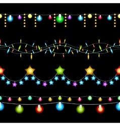 Christmas lights patterns vector image