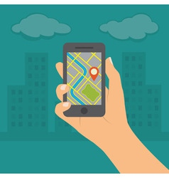 Smartphone with gps navigation vector