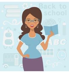 An of beautiful teacher at school vector image