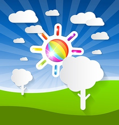 Summer Landscape with Colorful Sun Paper Tr vector image