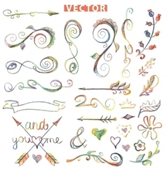Doodle decor elements setcolored crayon vector