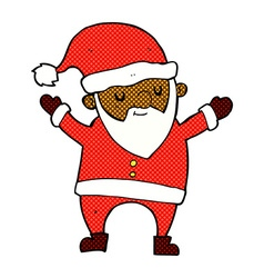 Comic cartoon dancing santa vector