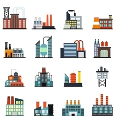 Industrial building factory flat icons vector