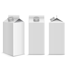 Milk and juice white carton package box in vector